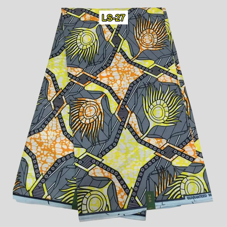 Find More Fabric Information about Wholesale Cotton Print Fabric,Yellow&gray Ankara Print Wax Block…