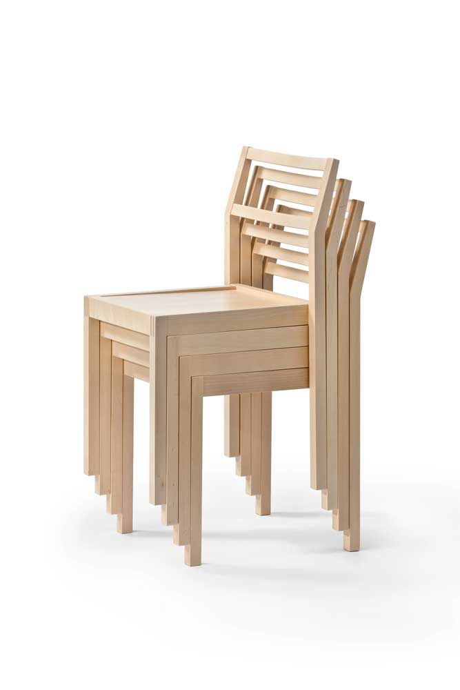 NIPO chairs are stackable, design Jouko Järvisalo