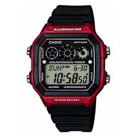 #novedad de #relojes #casio. Modelo resistente al agua 10 atmósferas, con 5 alarmas, temporizador de cuenta regresiva, cronómetro y luz Led. Con caja de resina lacada en color rojo y correa de caucho.