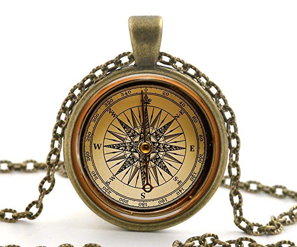 Handcrafted Vintage Compass Pendant - a cute going away gift for the traveller in your life. Handmade and unique