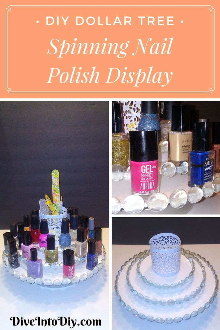 If you're anything like me you have a bunch of nail polishes that are cluttered and unused. This DIY spinning nail polish display will fix all that clutter and motivate you to keep those nails looking top notch! This DIY project is made using all Dollar Tree products and can even be used to display your foundations, perfumes, lipsticks, or maybe even used as a spice rack in the kitchen!