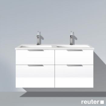 Burg Eqio Waschtischunterschrank mit 4 Auszügen und Keramik-Doppel-Waschtisch Front weiß hochglanz/Korpus weiß glänzend/WT weiß