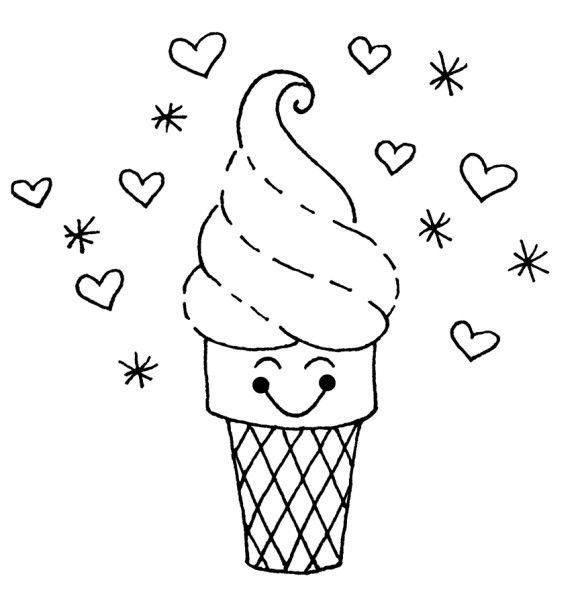 Cute Ice Cream Coloring Pages  1st Birthday Party
