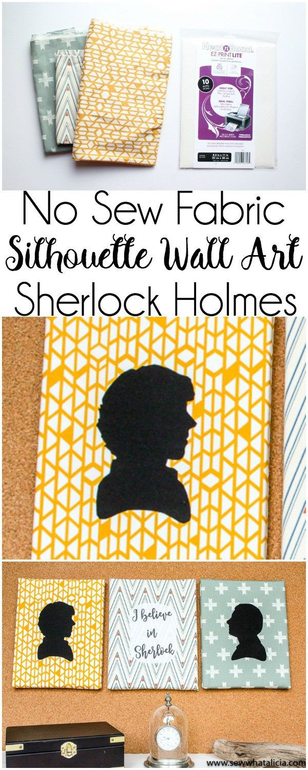 No Sew Wall Art - Sherlock Holmes: I am totally obsessed with Sherlock Holmes (the Cumberbatch version) so I couldn't resist this fun project with the new episodes coming out. Click through for a full video tutorial and supplies. | www.sewwhatalicia.com