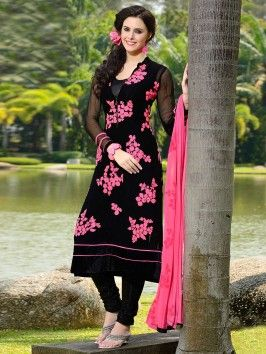 Black Georgette Suit With Zari And Resham Embroidery Work (With Santone Inner)