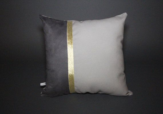 Color Block Grey & Gold Pillow 16x16 by DandyFunk on Etsy, $25.00