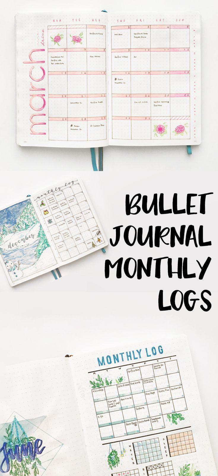 Different Types of Bullet Journal Monthly Logs  #bulletjournal
