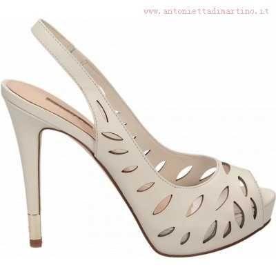 GUESS 'Halinna' Rich Creme laser-cut leather Peep-toe Slingback laminated Stiletto Heel