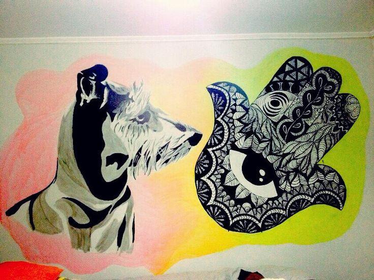 mural tinta china, perrita - mano de fatimal, mandalas