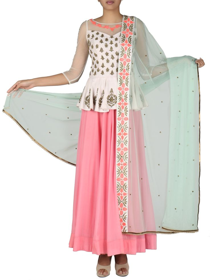 White Coral Pink Peplum Anarkali Suit #ethnicstyle #style #elegant #dress #Suit #indiandesigner #ethnic #accessories #partywear #celebration #festive #dress #couture #beautiful #embroidered #fashion #clothing #silk #ethnic #indiandesigner #stylist #fashionblogger #trendy #follow #stepintostyle Shop Now: http://bit.ly/1Tc2My0