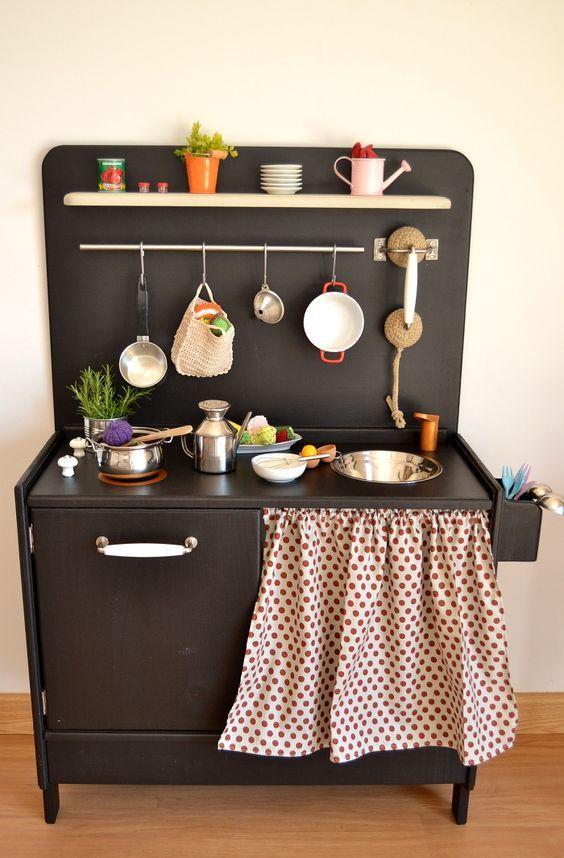 Kid Kitchens Black Kid Kitchen With Polka Dot Curtain