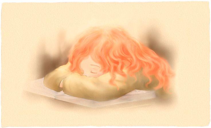 """""""Rebecca si addormenta sui libri"""".  Illustrazione per il romanzo per ragazzi """"Vivere a Venezia"""", di Laura M. Cecilia Ferro."""