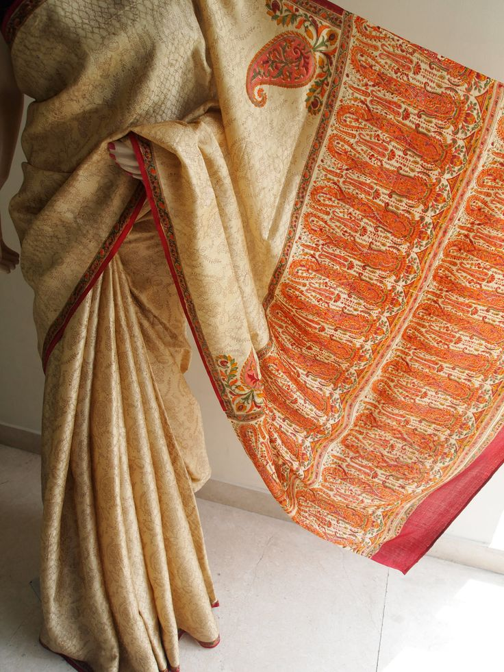 Beige Pure Jacquard Silk Saree