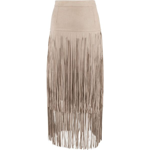 Joh Faux Suede Skirt with Long Fringe ($85) ❤ liked on Polyvore featuring skirts, fringe skirts, faux suede skirt, brown maxi skirt, long skirts and long brown maxi skirt