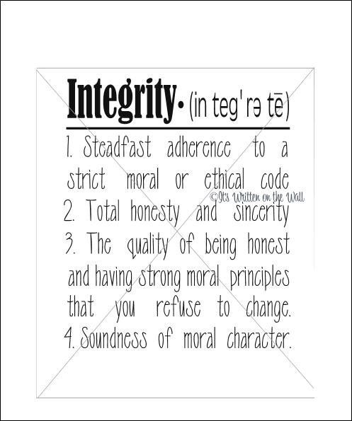 what integrity means essay Integrity in the dictionary is defined as the quality or state of being of sound moral principle uprightness, honesty, and sincerity so as an example you could say- he expects to find in.