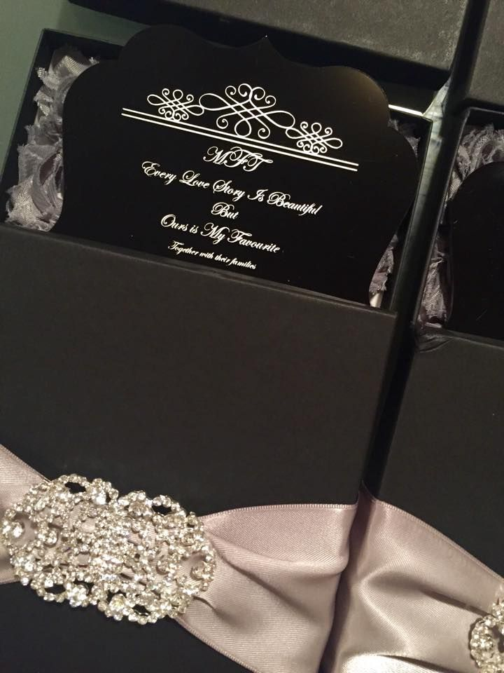 Our Wedding Invitations Black Acrylic Boxed Invitations