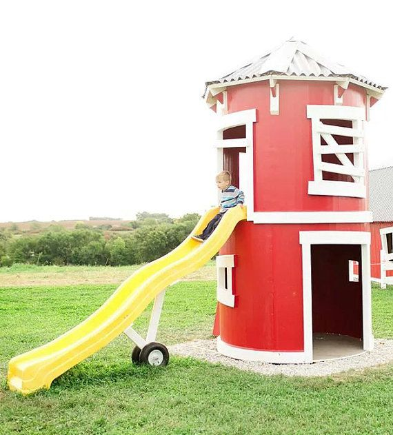 The Silo Playhouse is 6 ft round and two floors with a grain auger style slide and a ladder. We deliver and install nationwide. Contact us