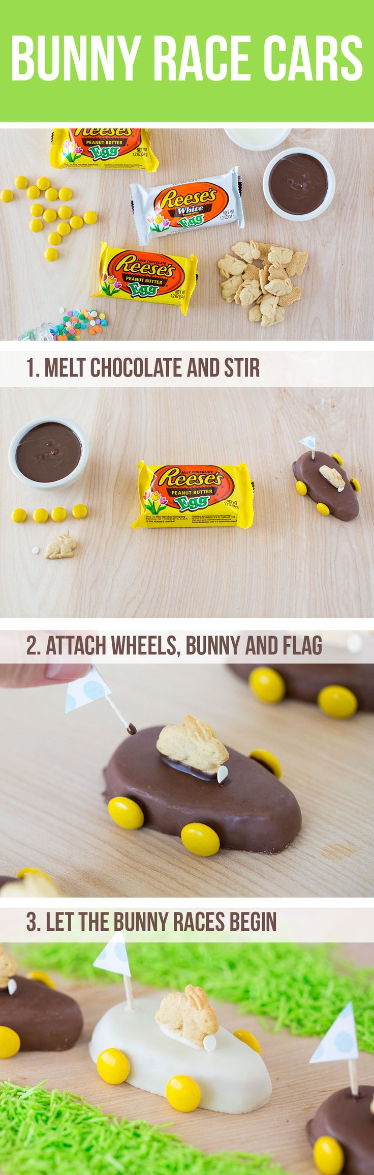 Easter Bunny Treats …the most adorable bunny race cars and chocolate peanut butter bunnies! Your kids will love these mini desserts for Easter.