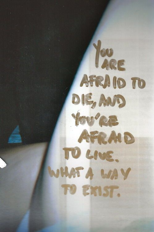 i am not afraid to die, i think that i am afraid to live because then everything i have and am will change...but maybe not.