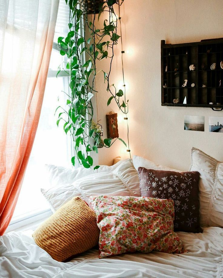 Cosy college room with throw pillows and hanging planters