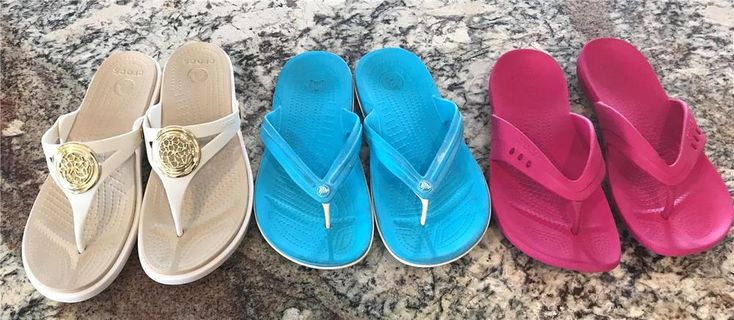 Crocs Ladies Flip Flops Sandals LOT - Size 8 *** 3 Pair *** Cream, Pink, Aqua #Crocs #FlipFlops