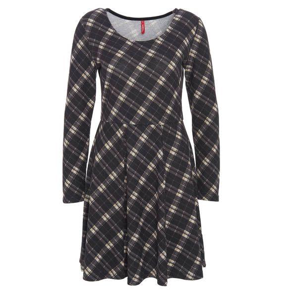 manguun Kleid, geometrisches Muster, langarm grau