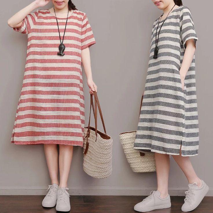 Stripe tunics tees maxi sizes maxis dress long dresses cotton linen