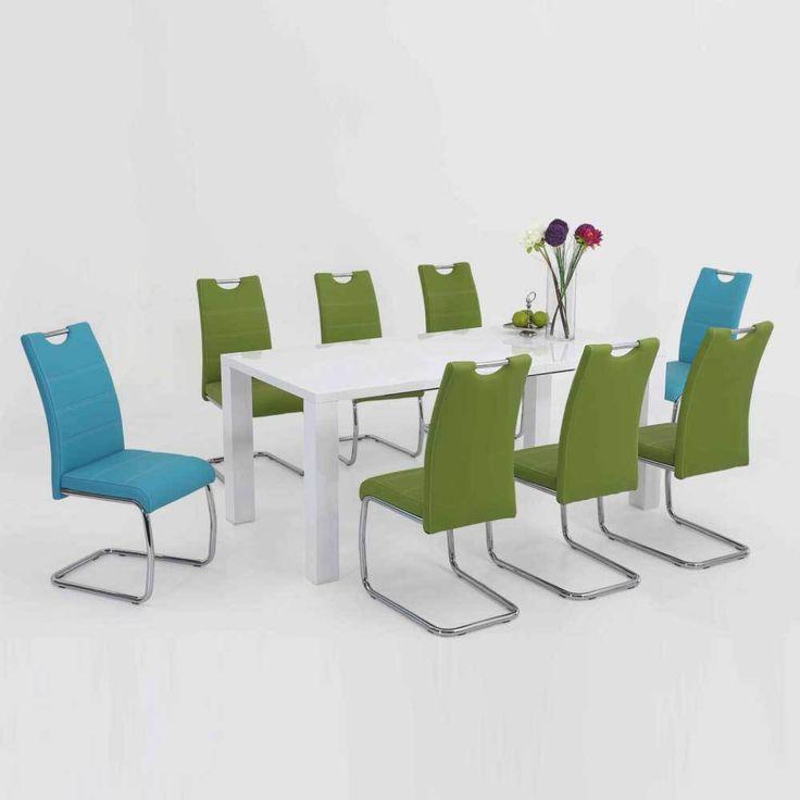 Esstischgruppe Mit Ausziehbarem Tisch Weiß Hochglanz Blau Grün (9 Teilig)  Jetzt Bestellen Unter: Https://moebel.ladendirekt.de/kueche Und Esszimmer/tische/  ...