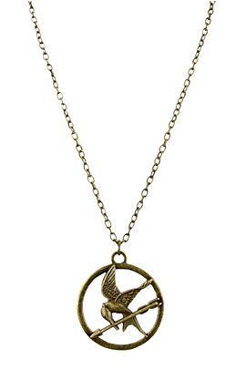 The Hunger Games Mockingjay necklace! I totally want! Hot Topic $18.50  (they also have it as a pin & hoop earrings)
