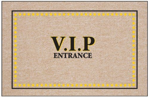 "V.I.P. Entrance Doormat by High Cotton Inc.. $19.99. Perfect bound stitched edges.. Doormat is 18"" x 27"". Easy care; wash with hose and a brush. Dry flat.. Practical and useful. Great gift.. Doormat: V.I.P. Entrance doormat - Humorous, durable doormat. A great way to welcome guests. Manufactured in USA."
