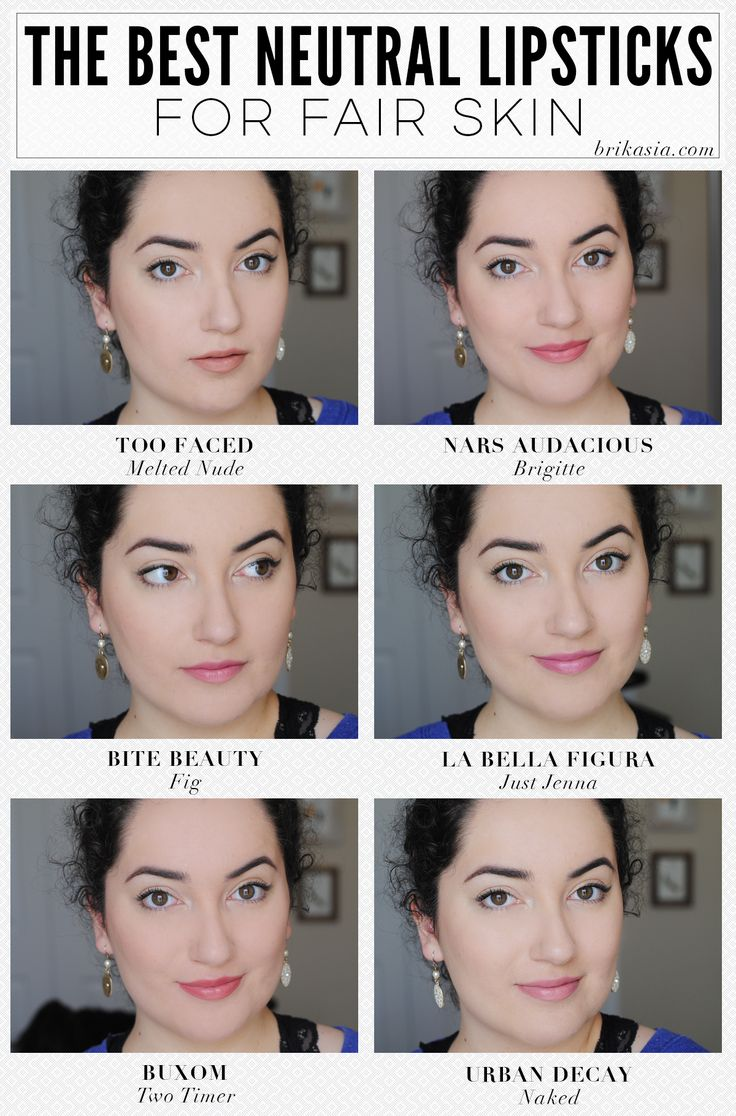 best nude lipsticks for pale skin. nude lipsticks that won't make you look dead. neutral lipsticks for fair skin. too faced melted nude. la bella figura just jenna cream blush. nars audacious lipstick in brigitte. buxom lipstick two timer. urban decay naked lipstick