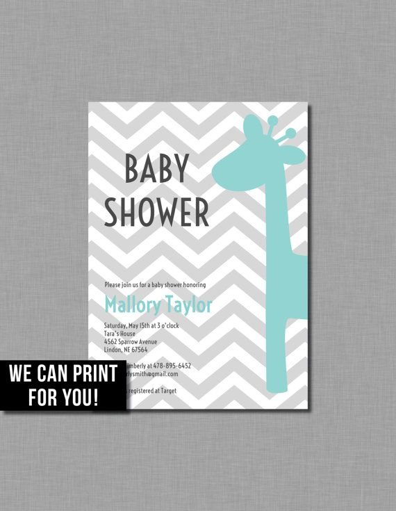 Aqua Baby Shower Invitation giraffe blue gray grey by CoralBalloon