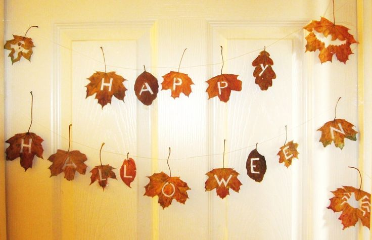 Rustic Halloween Bunting out of leaves (This would be good to do for Thanksgiving as well)