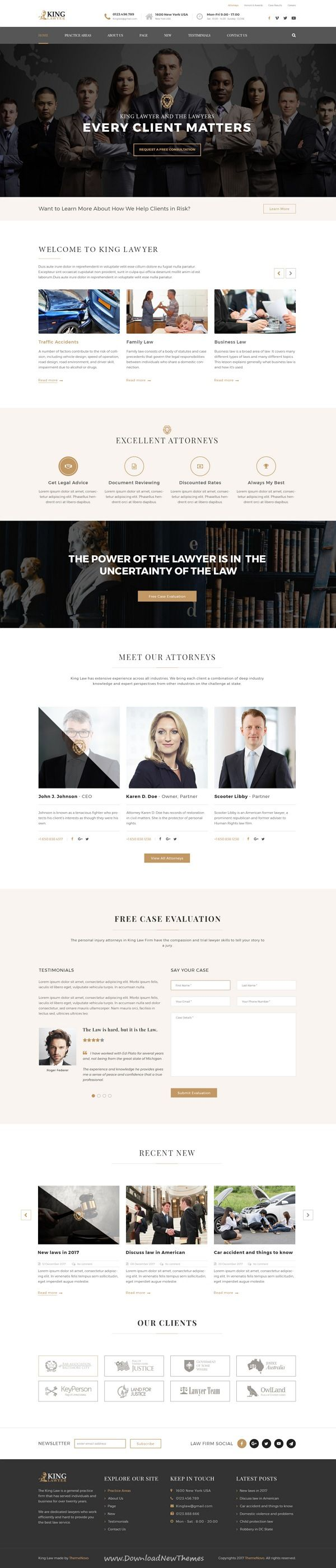 Kinglaw is clean and modern design PSD template for #attorney and #lawyers website with 4 homepage layouts and 23 layered PSD pages to live preview & download click on Visit 👆 #webdesigns