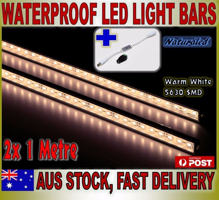 2X 1m 12V Waterproof Warm White 5630 Led Strip Lights Bars Camping Boat+Dimmer