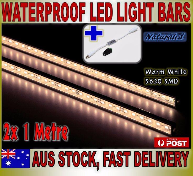 2X 1m 12V Waterproof Warm White 5630 Led Strip Lights Bars Camping Boat+Dimmer