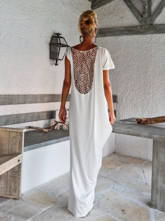 Ivory Maxi Dress Kaftan with Lace Mesh Details / by SynthiaCouture