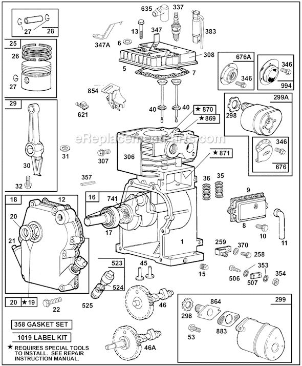 Briggs and Stratton 60100 Series Parts List and Diagram  (1015, 1016, 1111, 11301222, 1300