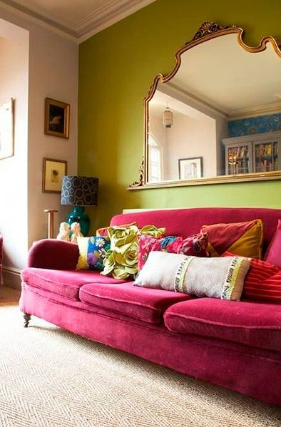 serie de color verde oliva y rosa. boho #colorful #salones
