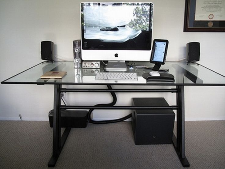 Modern glass top computer desk design with white keyboard Designer glass computer desk