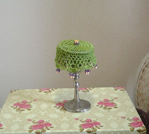 Lime Green Crochet Wine Doily cup cover or can cosy by frillydaisy