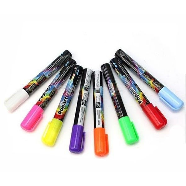 Marker Pens 8 Neon Colors 3mm Fine Tip Liquid Chalk Water based. 3mm Fine Bullet Tip Liquid Chalk Marker Pens 8 Neon Colors  Description: 3mm bullet tip 4g Ink Colorful and bright High Visibility Neon Color Easy to wipe off Water based non toxic inkWrite on LED writing boards, windows, glass, glossy boards, acrylic blackboards, car windows, white boards and all non-porous surfaces.  Package: 1X 3mm Fine Bullet Tip Liquid Chalk Marker Pens