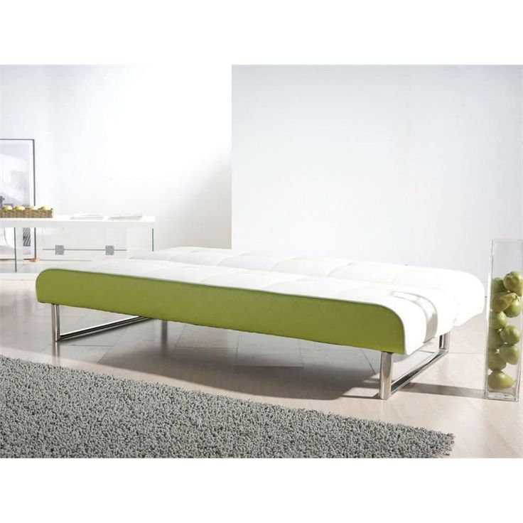 Seattle Leather Convertible Sofa In White And Lime Green   ADC SEA CSB
