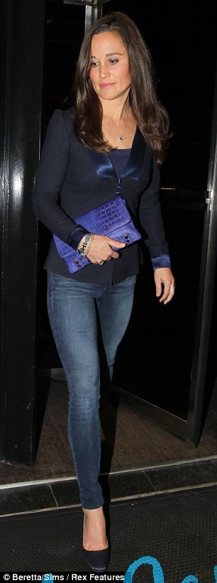 Pippa wore her favourite skinny jeans with a fitted navy blazer and round-toed navy court shoes