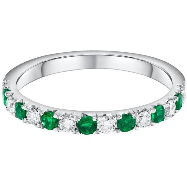 Alternating Green Emerald And Diamond Half-way Wedding Band ($975) ❤ liked on Polyvore featuring jewelry, rings, green, wedding rings, green emerald ring, green ring, diamond rings and green wedding rings