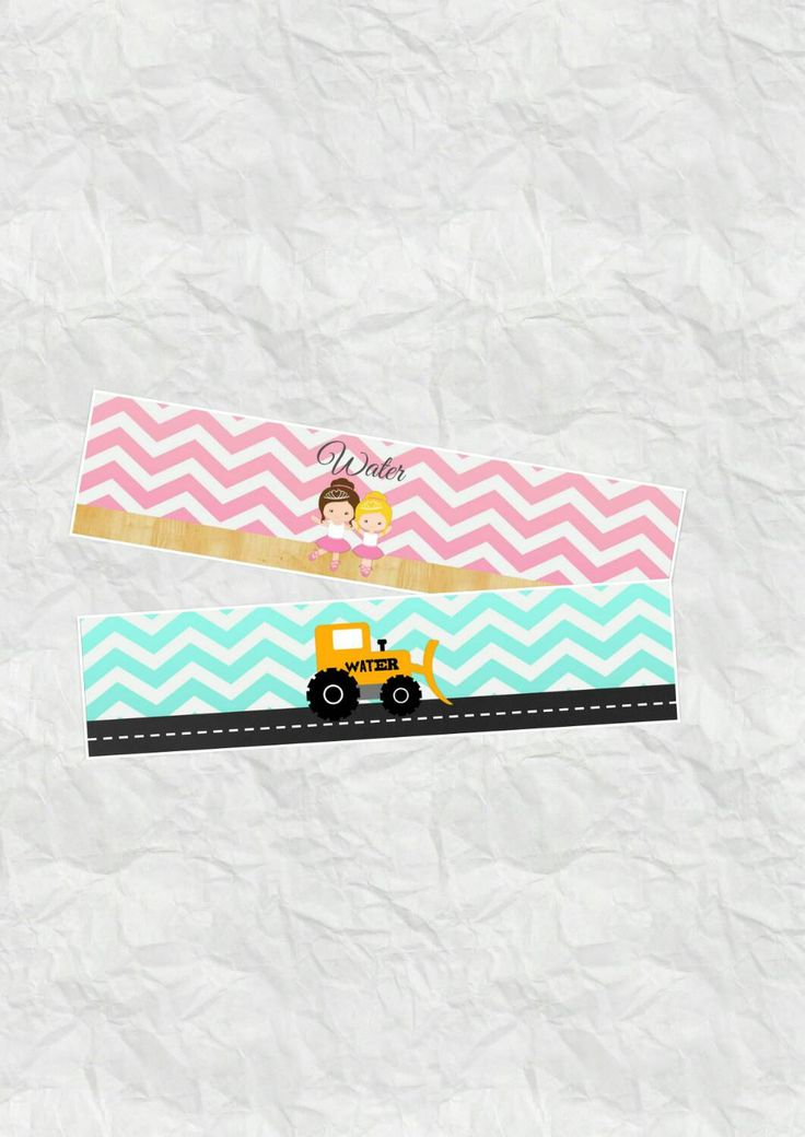Trucks and Tutus Water Bottle Labels - Birthday Water Bottles - DIY Printable Files by CreativeKittle on Etsy