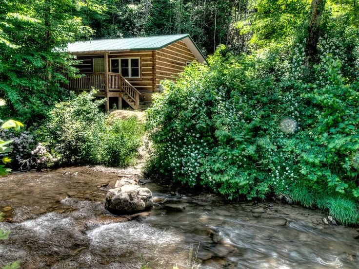 Alarka Creek Cabin #2 - Bryson City Cabin Rentals  Creekside Log Cabin Rental in the Smoky Mountains Near Bryson City NC.  Fisherman's paradise.  Located right on the creek where you can fish right in your front yard.  www.brysoncitycabinrentals.com