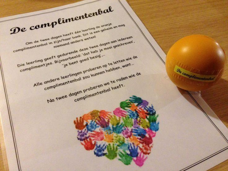 De complimentenbal en andere positieve ondersteuners om het sociale klimaat in je klas te verbeteren. Via www.juflisanne.com