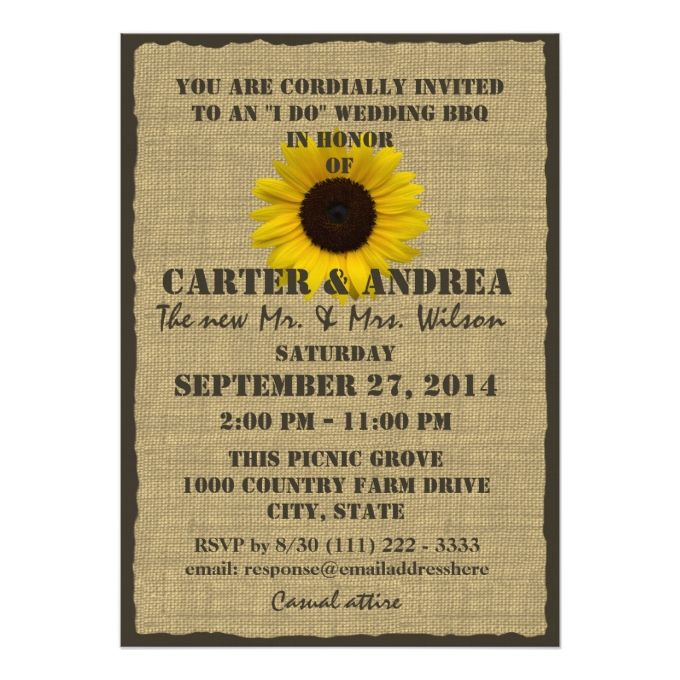 Sunflower And Burlap BBQ Wedding Reception Card