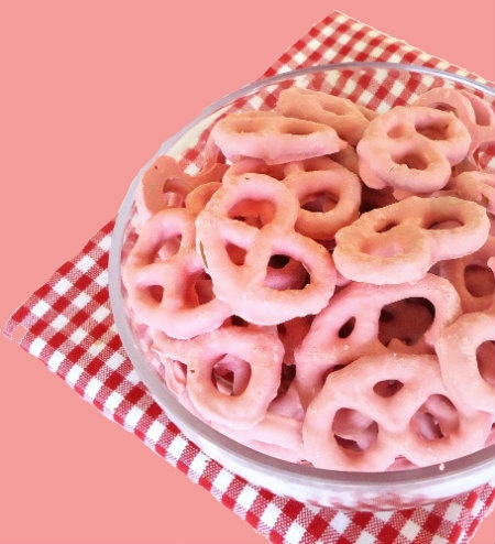 One Perfect Bite: Pink Yogurt-Covered Pretzels-this link has the full recipe!